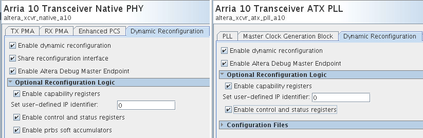 11-4 How to Enable ADME How to Enable ADME In the Arria 10 Transceiver Native PHY and the Arria 10 Transceiver ATX PLL IP cores, on the Dynamic Reconfiguration tab, turn on Enable dynamic