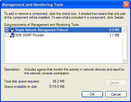 Figure 14 Windows Components Wizard 4. Click Management and Monitoring Tools in the list to select it and then click the Details button.