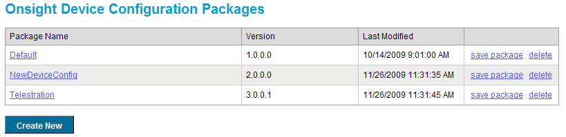 Figure 43 View Onsight Device Configuration Package List From here, you may perform a number of tasks on each package.