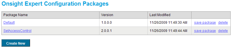 Figure 45 View Onsight Expert Configuration Package List From here, you may perform a number of tasks on each package: Save Package allows you to download a ZIP file containing an Onsight Expert