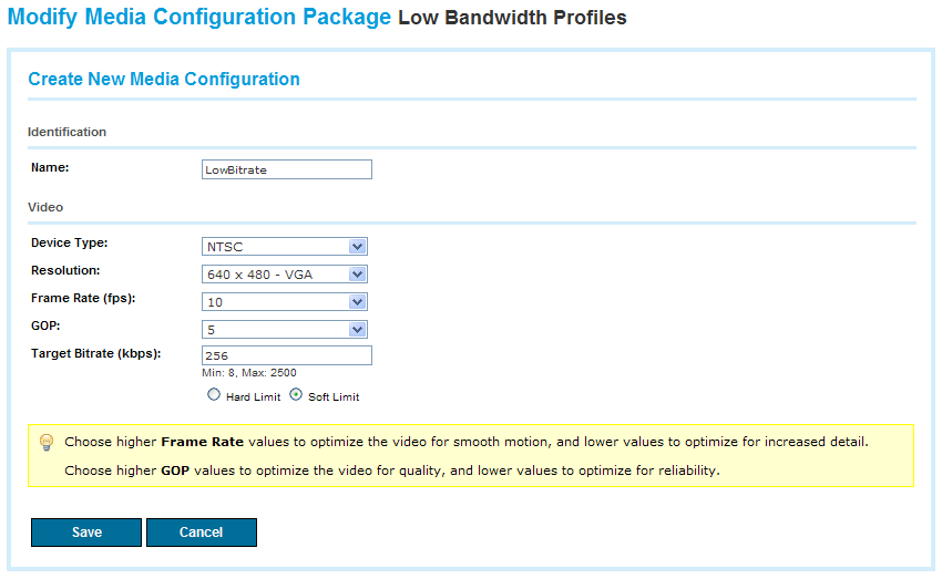 Figure 54 Create New Media Configuration 2. In the Identification section, fill in the fields necessary to define the new configuration, as shown in Table 27.