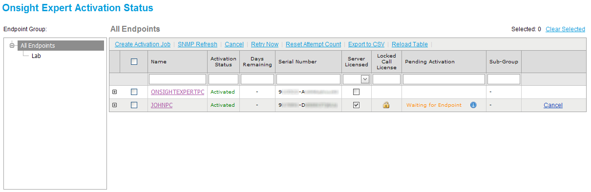 Figure 60 - Onsight Expert Activation Status The Onsight Expert Activation Status page contains a table of all Onsight Expert endpoints currently managed by Onsight Management Suite, along with their