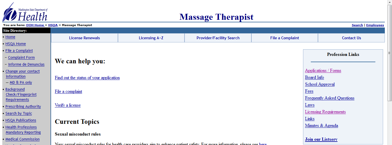 Each state board of massage website is different.