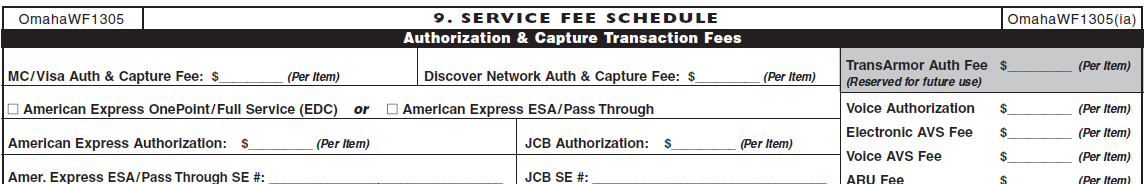 Section 9 Service Fee Schedule Authorization & Capture Transaction Fees The Authorization and Capture Transaction Fees section encompass all communication pricing (Authorization Income Grid).