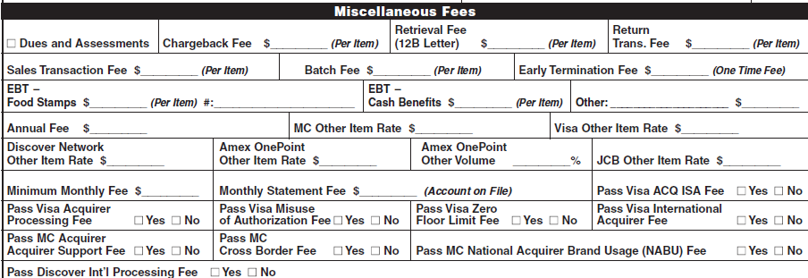 Section 9 Service Fee Schedule Miscellaneous Fees The fields within the Miscellaneous Fees section