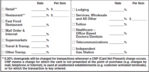 Section 9 Service Fee Schedule Pricing Methods, cont d Complete the appropriate section(s) based on the pricing option applicable to the merchant.