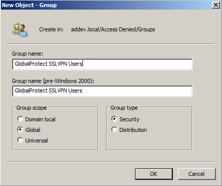 Click OK Create a group SSL VPN Users in Active Directory Open Active Directory Users and Computers from Administrative Tools Navigate to an OU, right click and select New Group On the New