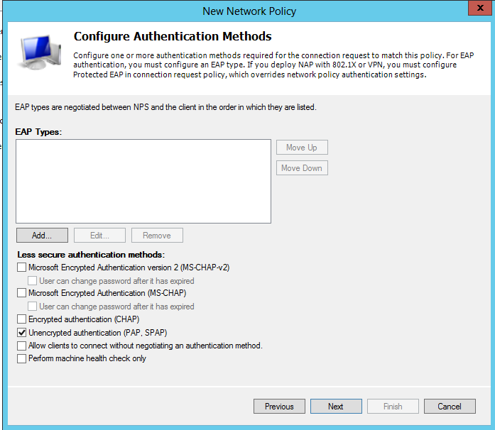 On the Configure Authentication Methods page, clear all authentications methods and select only Unencrypted Authentication