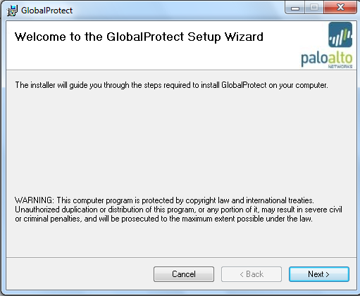 On the Welcome to the GlobalProtect Setup Wizard page, click Next On the Select