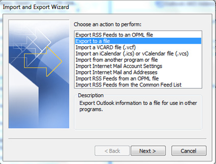 Figure 14: Click Finish 4.3 Step 3 (Save your IMAP data as a personal storage table (.pst)). a. In Outlook select File and then select Import and Export.