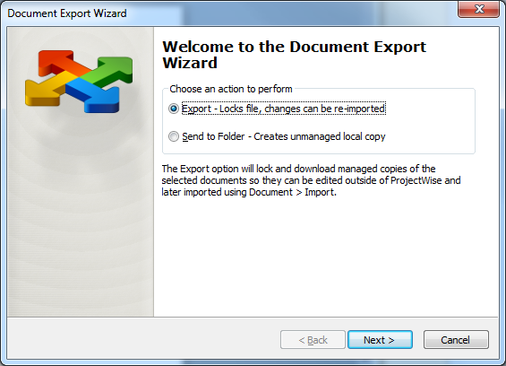 HOW TO EXPORT FILES ProjectWise allows you to export files.