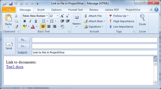 HOW TO SEND A LINK TO A FILE IN PROJECTWISE To send a link, highlight the file(s) then right click and select Send To>Mail Recipient As Link.