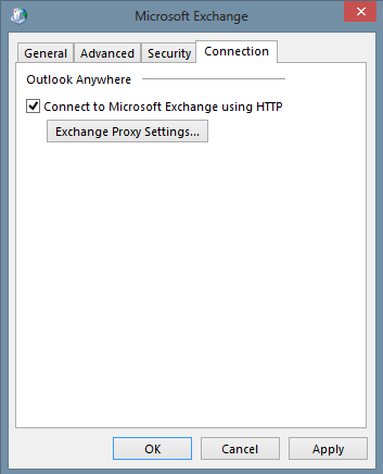 Window Microsoft Exchange will pop out click on Connection tab and turn on option Connect to Microsoft Exchange using HTTP.