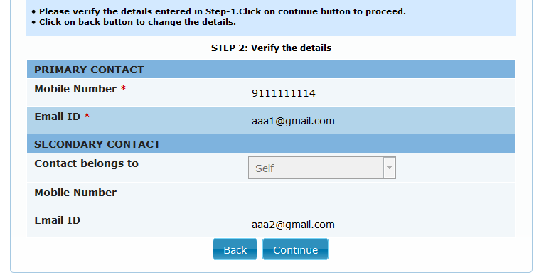 Update the required fields and click on Save button. A success message is displayed as shown. Step 5: In order to change the Contact details Click on Contact Details tab and click on Edit button.