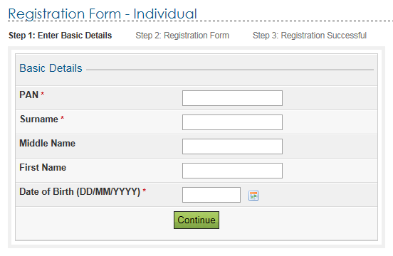 Individual User Registration An Individual should have a valid PAN for registering with the e-filing application.