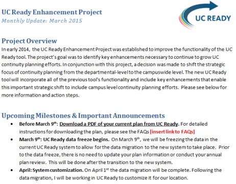 A project example: UC Ready OCM Change Approach Stakeholder Analysis Stakeholder Surveys