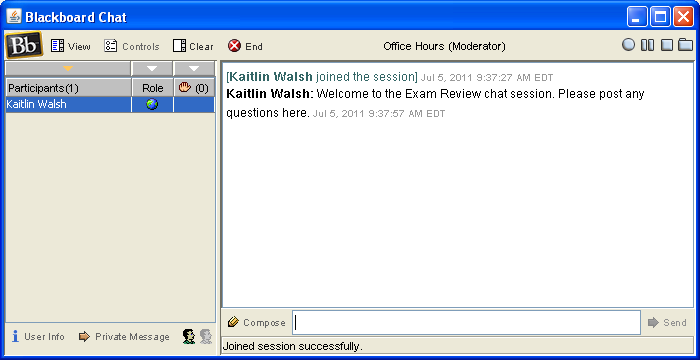 Chat with Text Box (Instructor View) Fill in the session name and information (including a date is helpful), and set availability options.