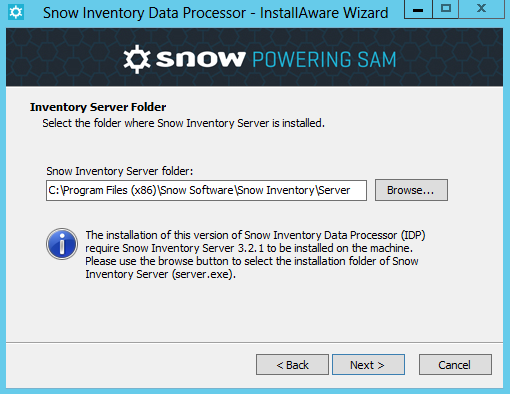 Enter your Organisation/Company name and License Key for Snow Inventory Data Processor, as supplied by Snow Software. Click Next to verify the product license and continue.