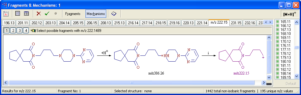 The application displays the molecular structure in the structure pane and the molecular mass and formula on the Work page.