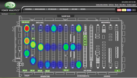 Heat Map overlays a dynamic, animated heat map as a semi-transparent layer on any view of the data center.