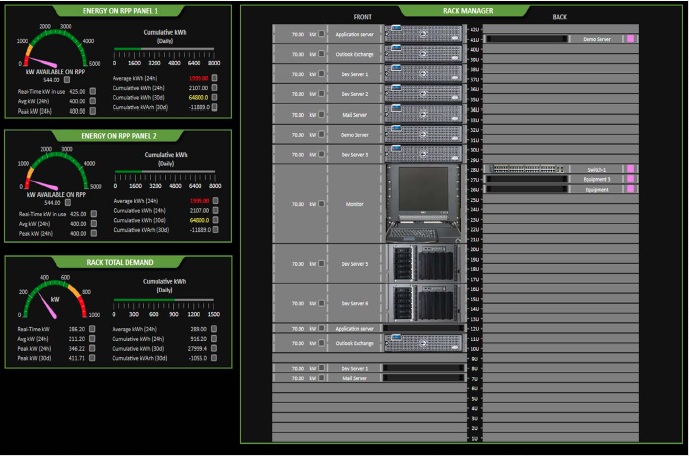 EXAMPLE - RACK MANAGER VIEW Racks of all standard sizes are supported.