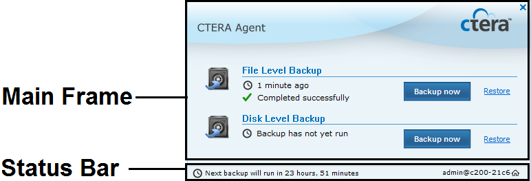 4 Using the CTERA Agent in Appliance Mode To suspend local backup Right-click the CTERA Agent tray icon in the notification area of the Windows taskbar, and click Suspend.