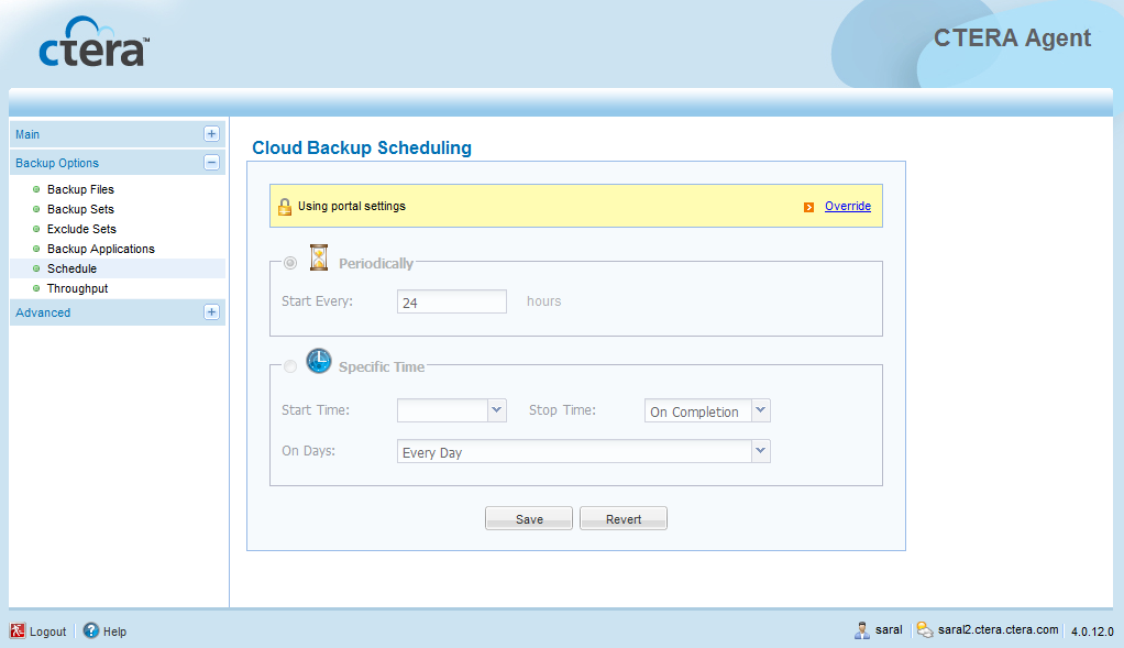 5 Using the CTERA Agent in Cloud Agent Mode Table 5: Cloud Backup Information This field... Displays.