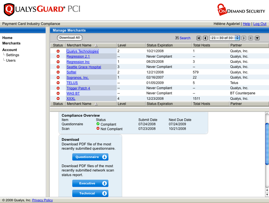 QualysGuard PCI - Acquiring Bank GUI Compliant Questionnaire and No Scan Consolidated view of all Merchants and their Compliance Status regardless of Qualys