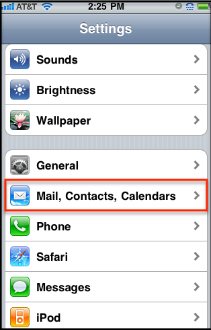 b) Next, tap Mail, Contacts, Calendars. 101/22 Rd c) Tap Add Account then Microsoft Exchange.