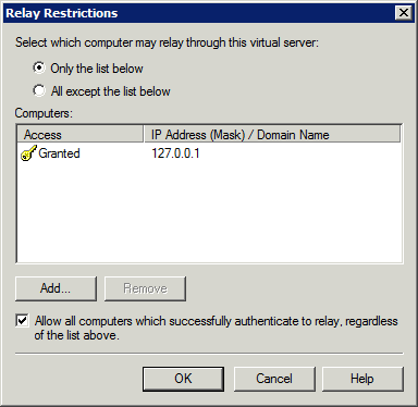 Screenshot 5: Relay restrictions dialog 4. Select Only the list below and click Add. 5. Select Single computer and in the IP address field specify the Lotus Domino/Notes Server IP address. Click OK.