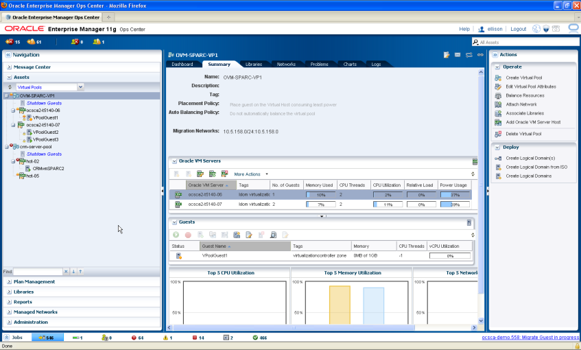 Oracle Enterprise Manager Ops Center delivers comprehensive lifecycle management of physical and virtual resources in an easy-to-use interface.