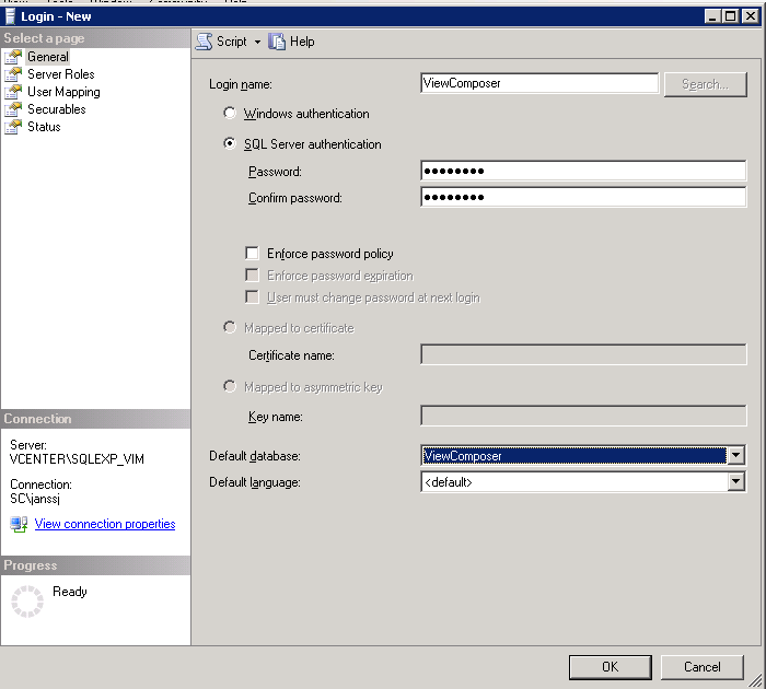 2. Create a database user for this database, for example username ViewComposer, password view2011.