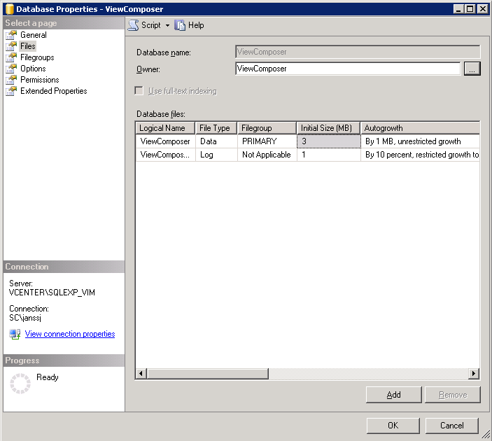 3. Edit the database properties of the ViewComposer database, make sure