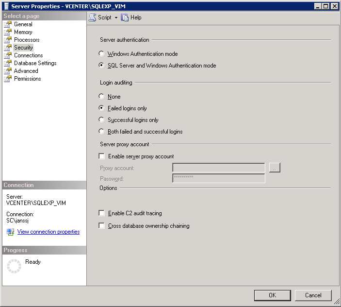 4. Make sure the database instance allows for Windows and SQL