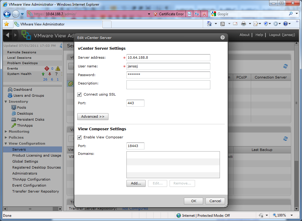 11. Now go back to the VMware View administration web GUI and edit the vcenter