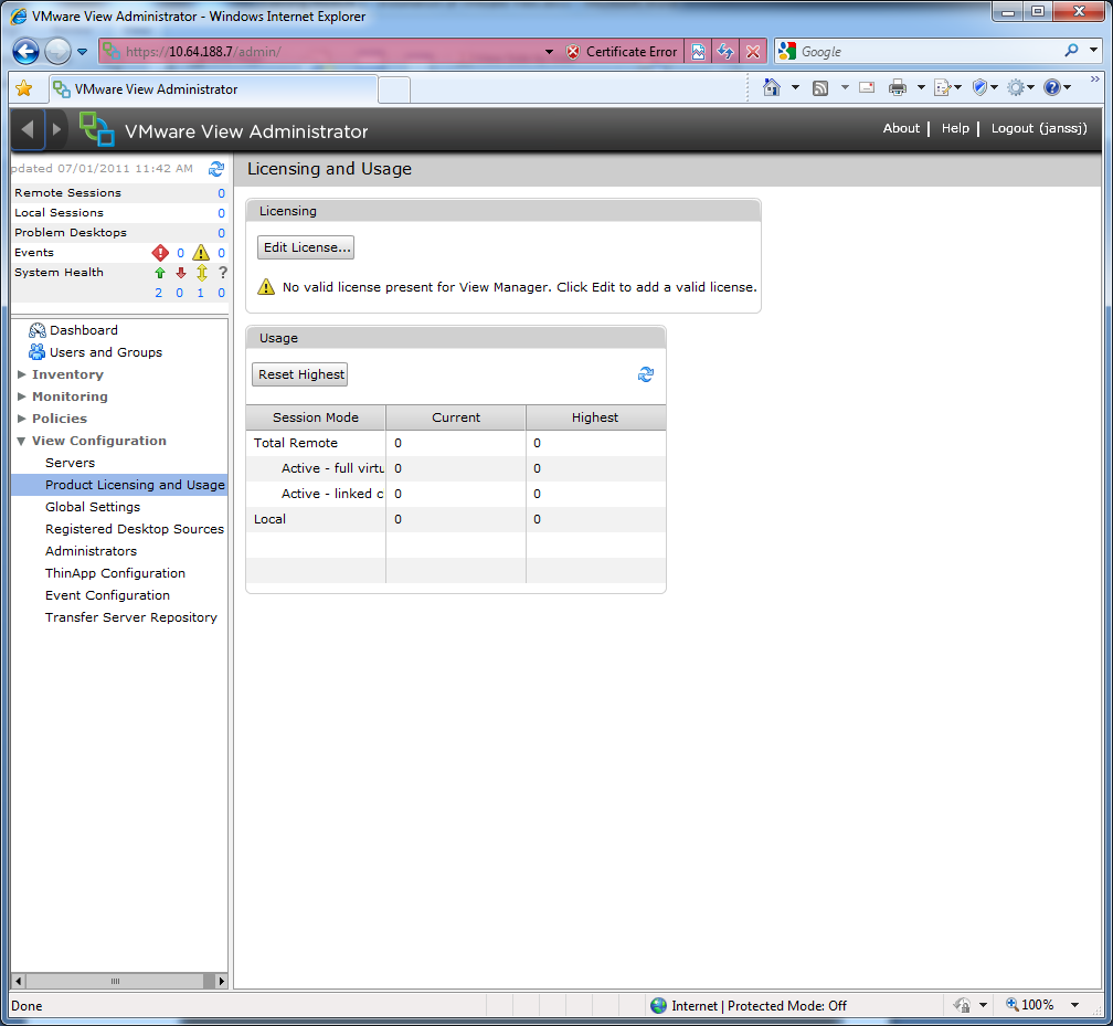 9. First thing you ll have to do after installation is to configure the VMware View license, click on the Edit License