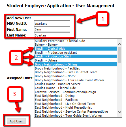 Managing System Users Existing users of the system can add new users and grant access to Assigned Units. Adding a New User From the Main Menu, under the Manage System Users section, click User Search.