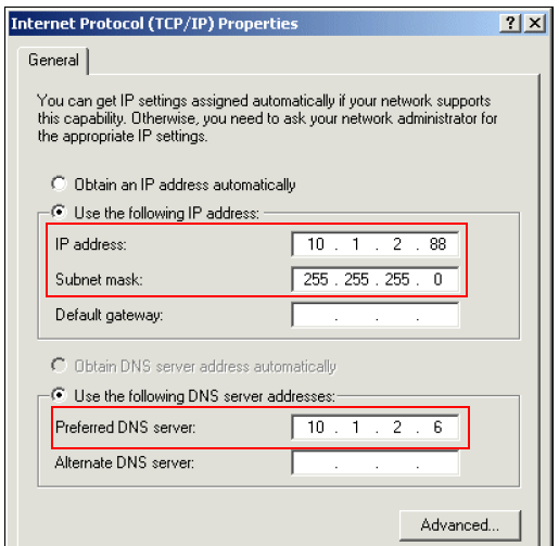 "d. In the ""Internet Protocol (TCP/IP) Properties"" dialog box: i. Click Use the following IP address and provide the following values: IP address: type the Load Balancer's cluster IP address."