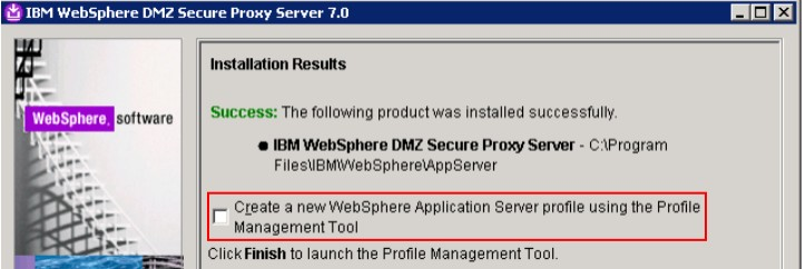"h. On the ""Installation Results"" screen, de-select Create a new WebSphere Application Server"