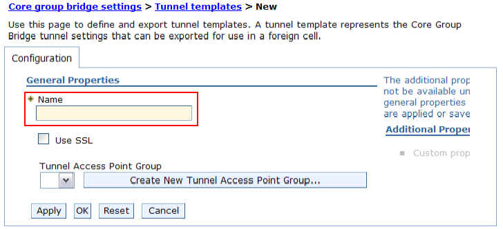 Creating a tunnel template Create a tunnel template that will contain information about how the DMZ Secure Proxy Server can access the Sametime Gateway cell through tunnel peer access points. 1.