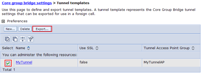 3. Export the tunnel template: a.