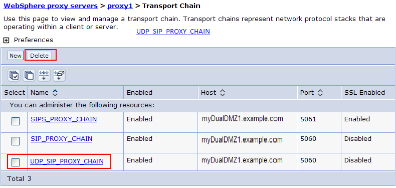 Configuring transport settings on the DMZ Secure Proxy Server Modify the transport chain and remove the UDP transport option to prevent it from being used on the DMZ Secure Proxy Server.