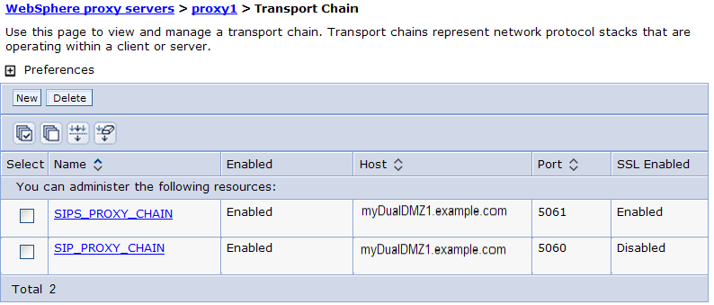 5. In the transport chain table, click the box in front of UDP_SIP_PROXY_CHAIN, and then click the Delete button to remove it. If you installed only one DMZ Secure Proxy Server, skip to step 8. 6.