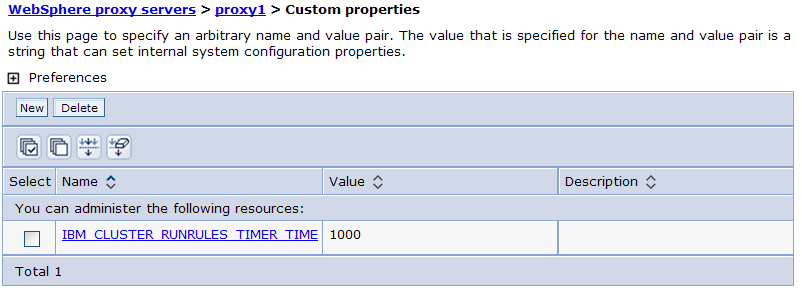 "a. Back on the proxy server Configuration page, ""Server Infrastructure"" and click Administration > Custom Properties. b. In the custom properties table, click New. c. Set the Name to IBM_CLUSTER_RUNRULES_TIMER_TIME."