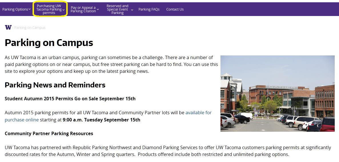 Purchasing UW Tacma Parking Permits Parking permit rders are