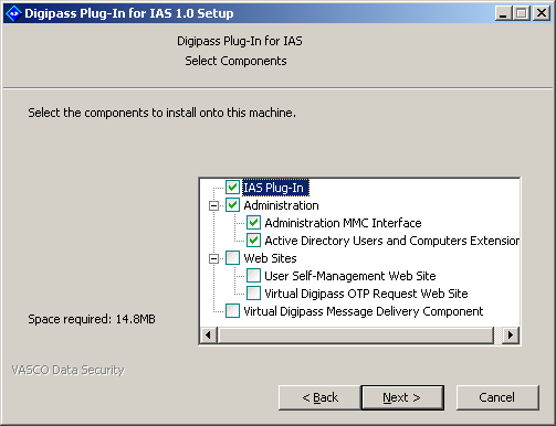 Installing Digipass Pack for IAS The Select Components dialog will be displayed. 4. Select the components you want to install.