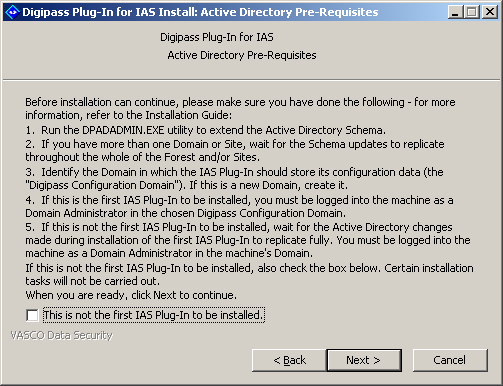 Installing Digipass Pack for IAS 6. Enter your user name and company name 7. If you are installing an evaluation copy of the Digipass Plug-In for IAS, tick the Use an evaluation license checkbox.