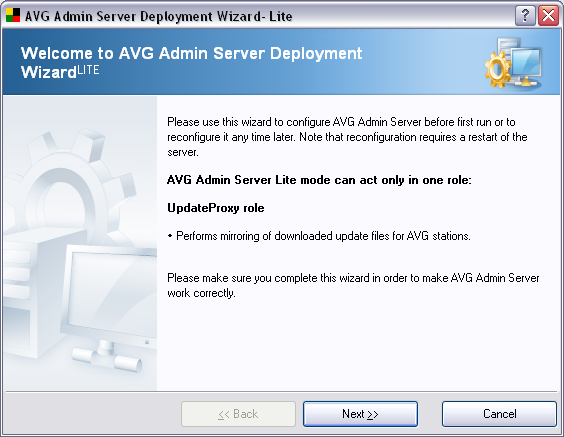 8.1. AVG Admin Deployment Wizard Lite The first dialogue explains the purpose of the Wizard.