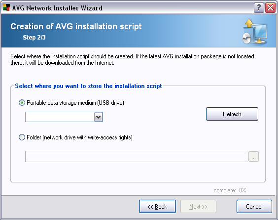 8.2.2. Creation of AVG Installation Script In this dialogue you need to choose, where the installation script will be saved.