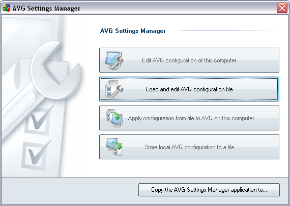 9. AVG Settings Manager The AVG Settings Manager is a tool suitable mainly for smaller networks that allows you to copy, edit and distribute AVG configuration.